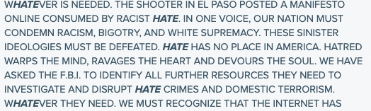Classroom Resources: Excerpt from President Trump's remarks on the shooting in El Paso, August 5, 2019.